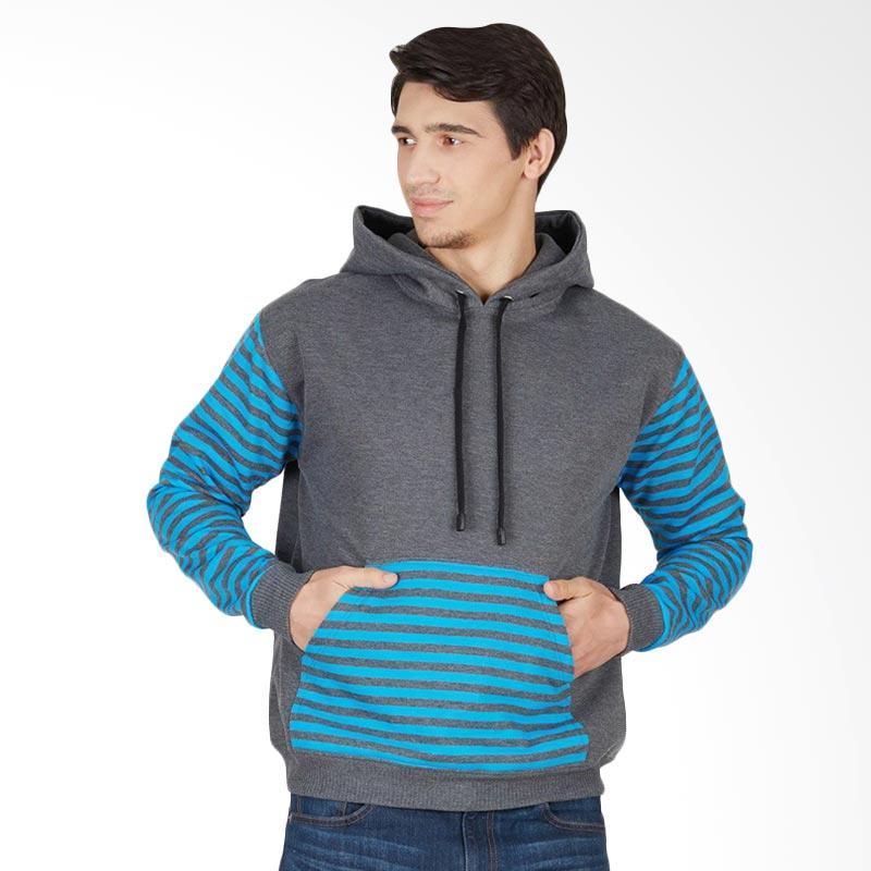 Enzy Batik Hoodie Long Sleeve Stripes Jaket Pria - Grey
