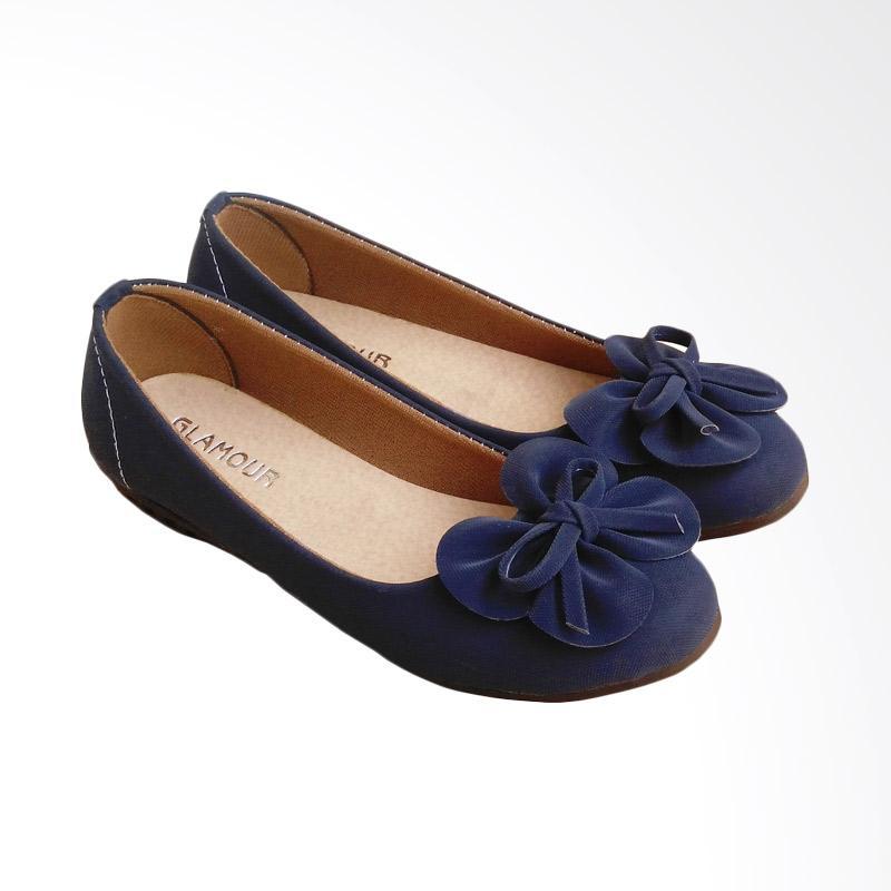 HQo KNY02 Sepatu Flat Shoes Slip On - Navy