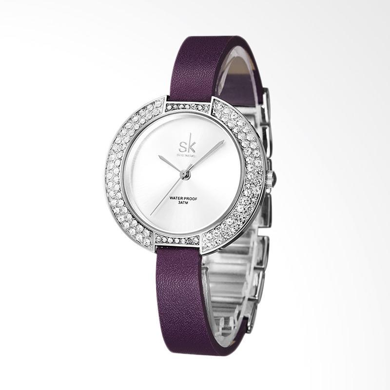 SHENGKE SK0030P Ladies Brand Luxury Diamond Leather Fashion Watch Jam Tangan Wanita