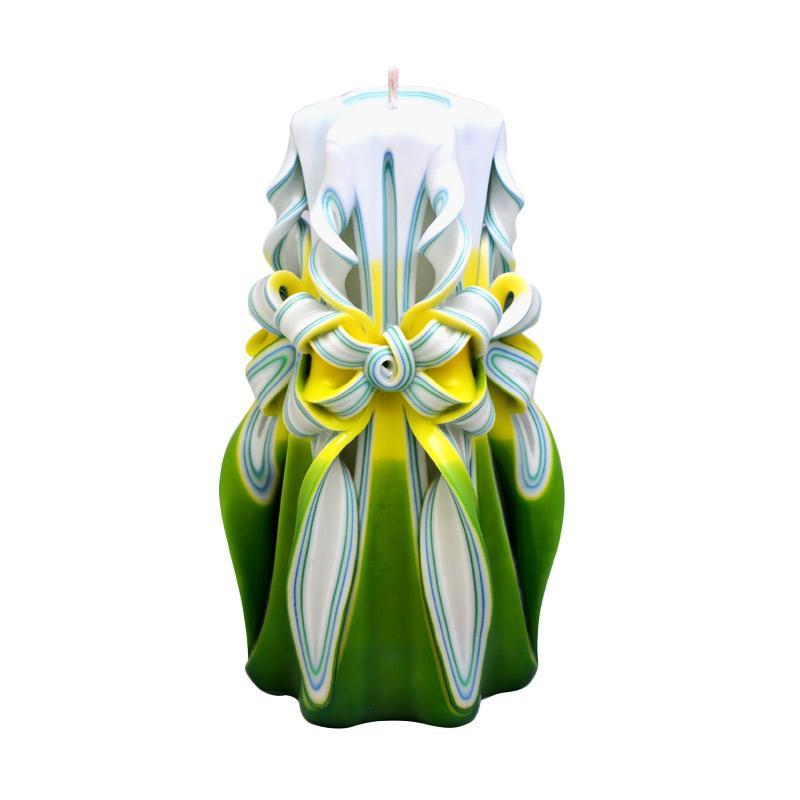 Indische Candle House Jasmine Lilin Ukir [8 Inch] Handmade dan Organik Wax