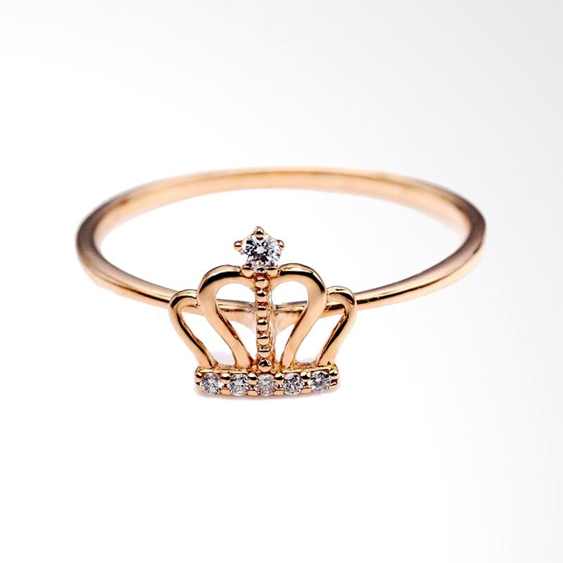 Tiaria Elegant Crown Ring Perhiasan Emas Cincin Berlian [18K]