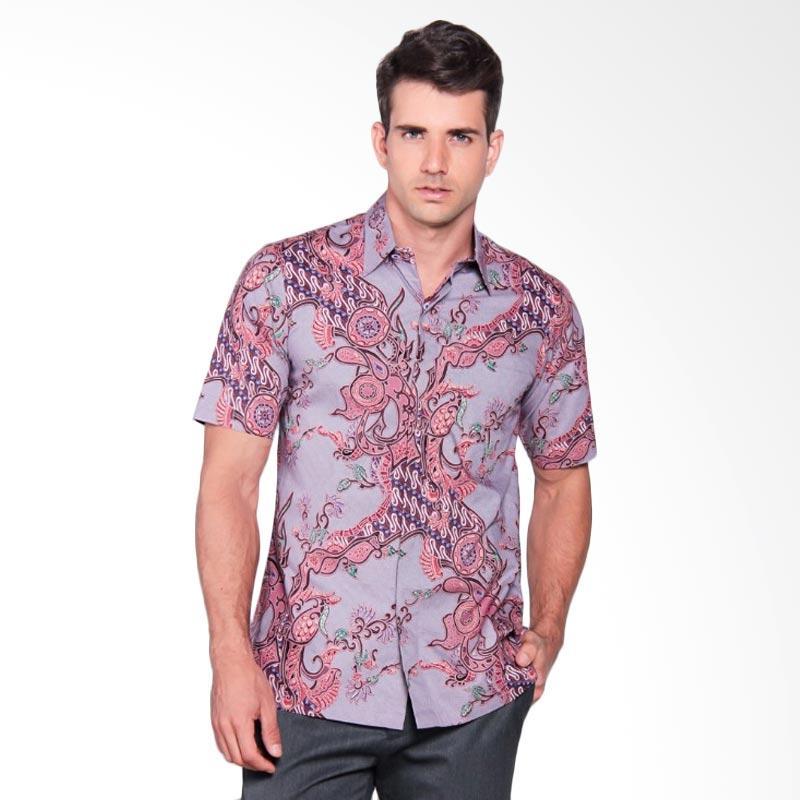 Batik Heritage Katun Premium Tulis Rantai Pendek Kemeja Batik Pria - Ungu