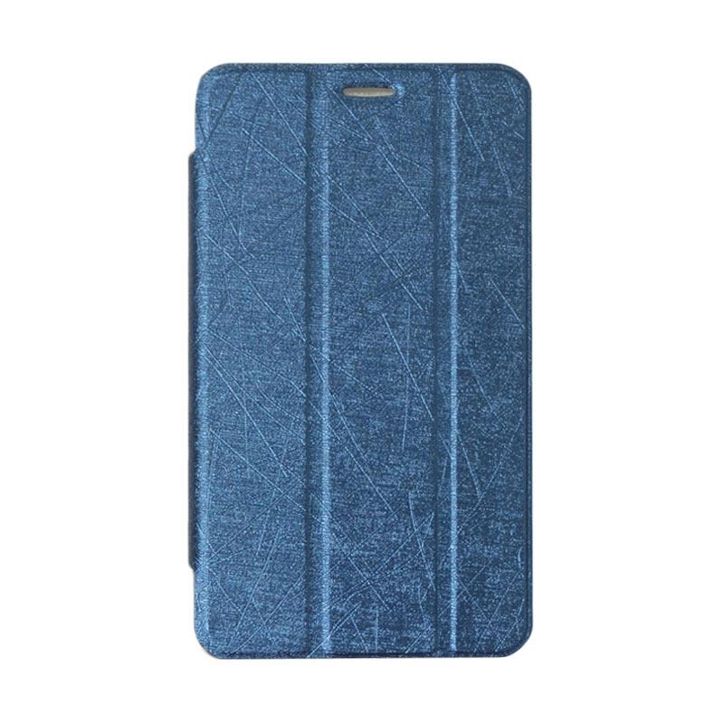 QCF Flip Cover Tablet Lenovo PB1-770N Leather Case Dompet Tablet Lenovo Phab Plus 6.8 Inch PB1 770N - Biru Tua