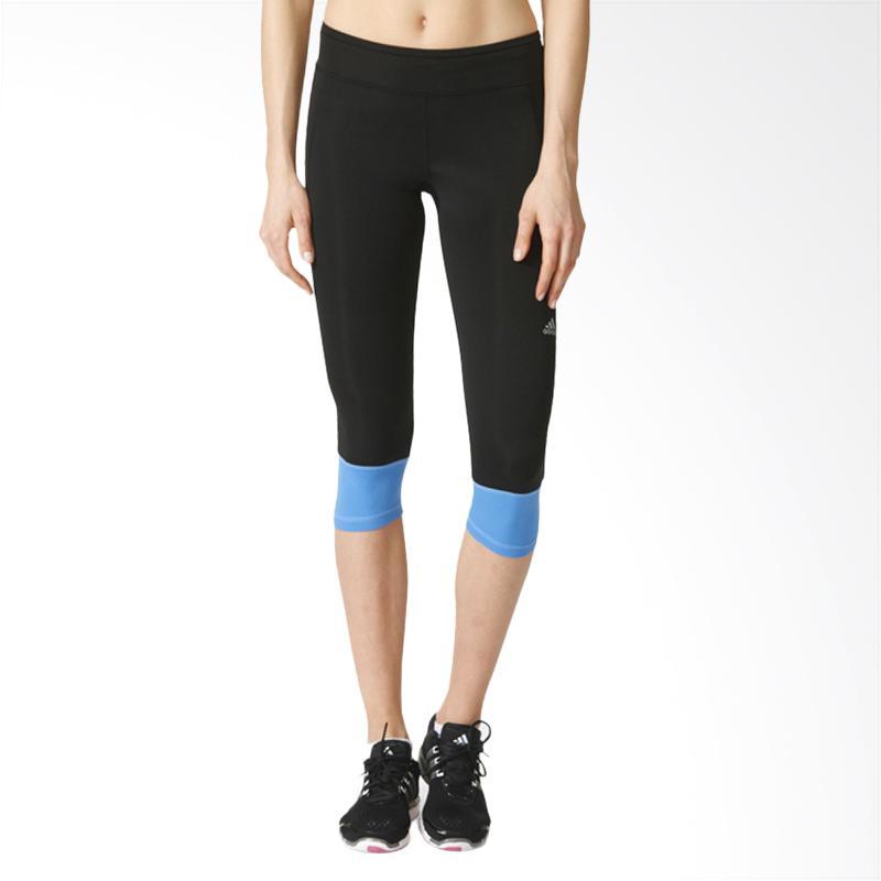 Adidas RS 3/4 Tight W Black/Rayblue Celana Senam Olahraga Wanita [AX6598]