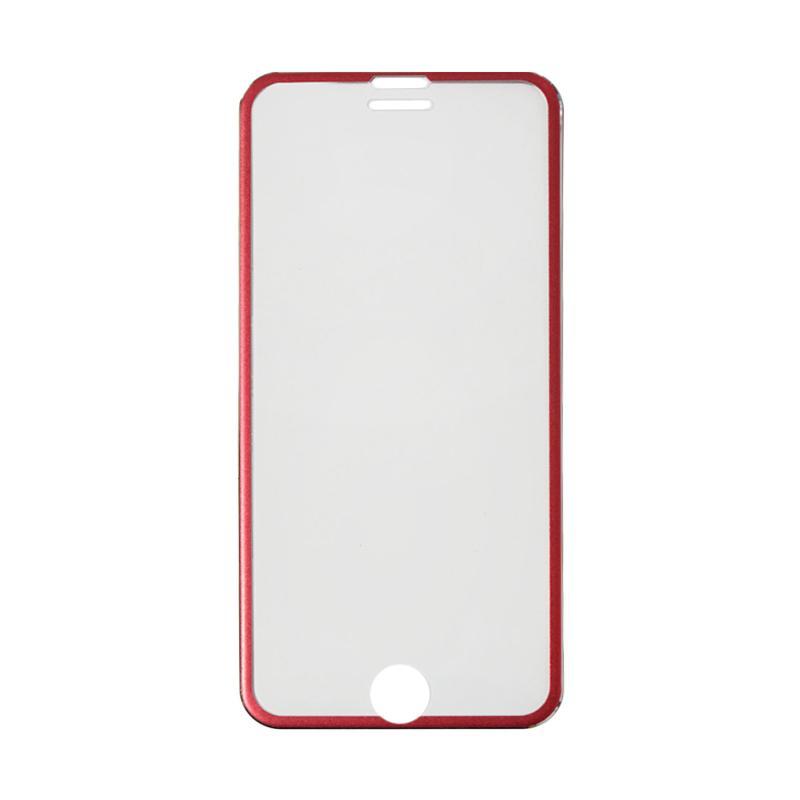 QCF Tempered Glass Ring Besi Aluminium Screen Protector for Apple iPhone 6 Plus / iPhone 6Plus / Iphone 6+ Ukuran 5.5 Inch Pelindung Layar - Merah