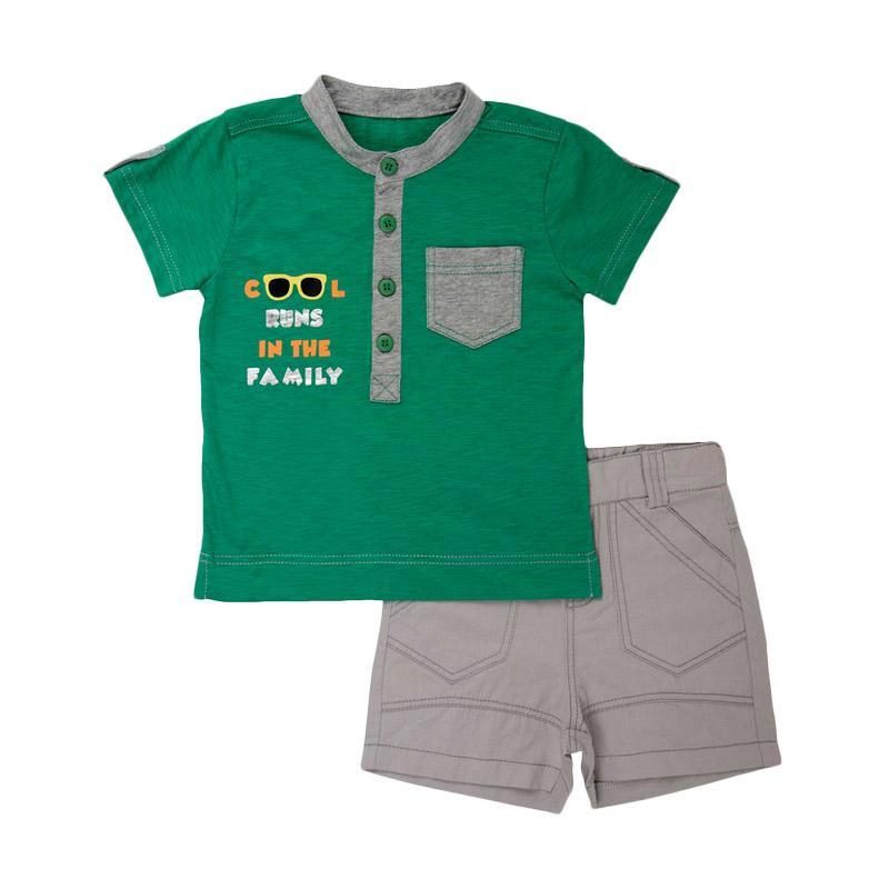 Torio 65-0640 Season 6 Cool Runs Casual Set Pakaian Anak - Green and Grey