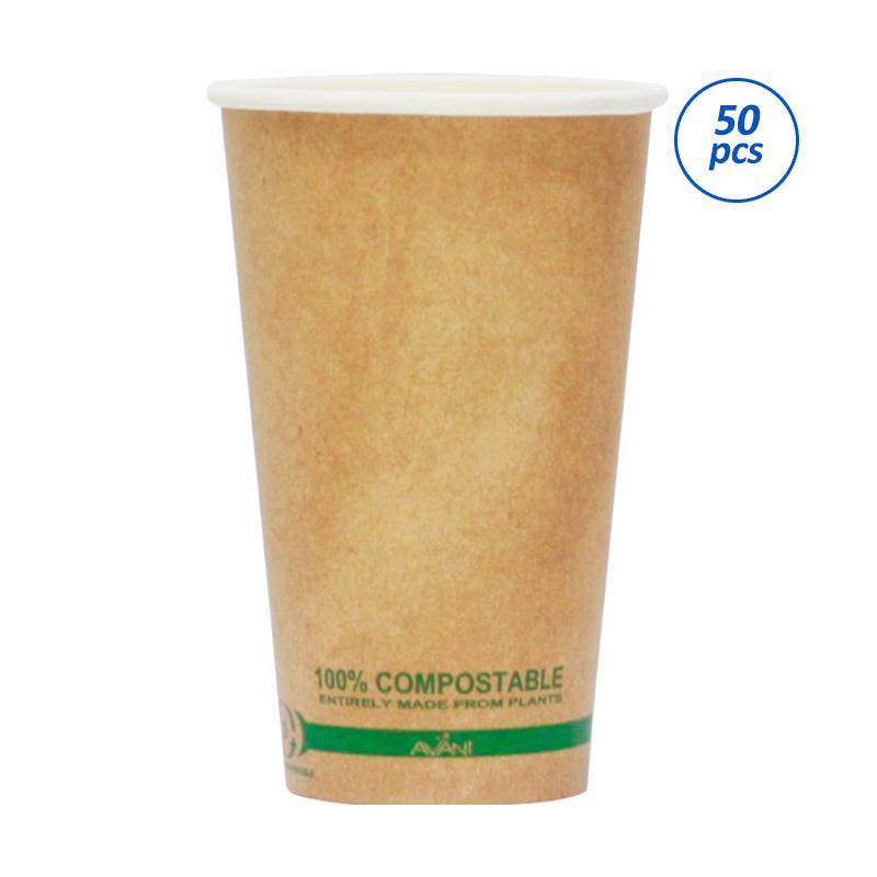 Avani Paper Coffee Cup - Brown [16 oz/ 50 Pcs/ Pack]