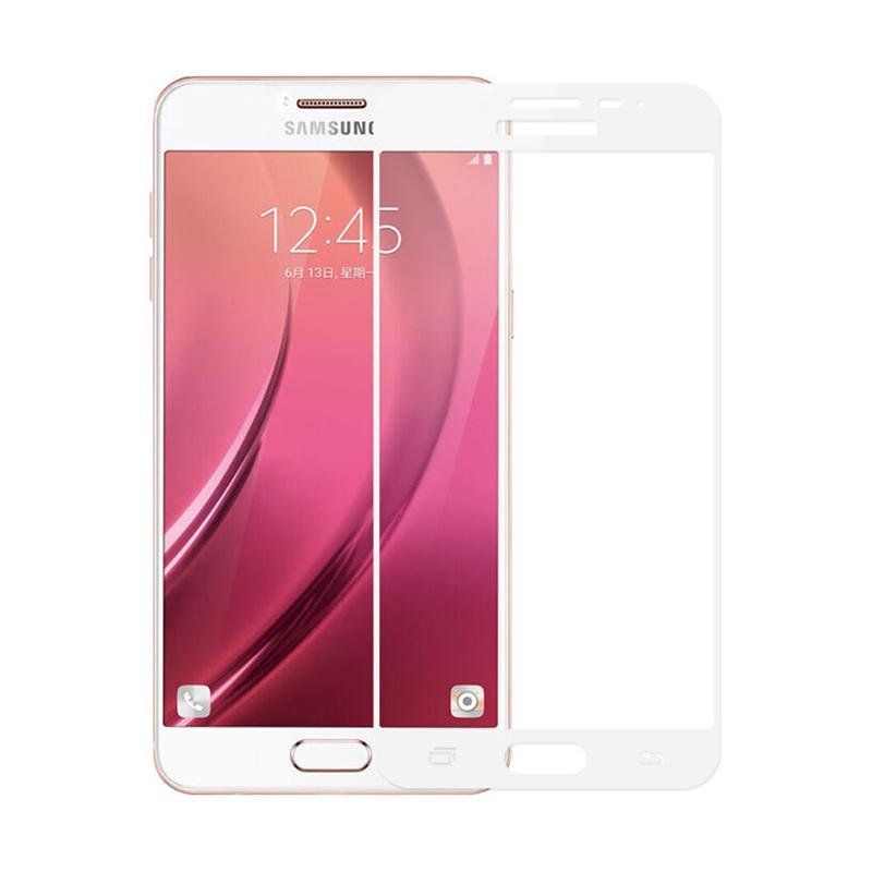 QCF Tempered Glass Warna Full White (Front Only) Screen Protector for Samsung Galaxy J5 Pro 2017 / J530 Anti Gores Kaca - Putih