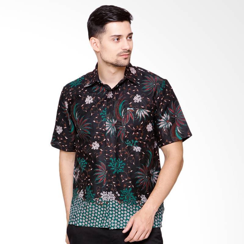 Jening Batik Short Sleeves Kemeja Batik Pria - Black [HR-057]