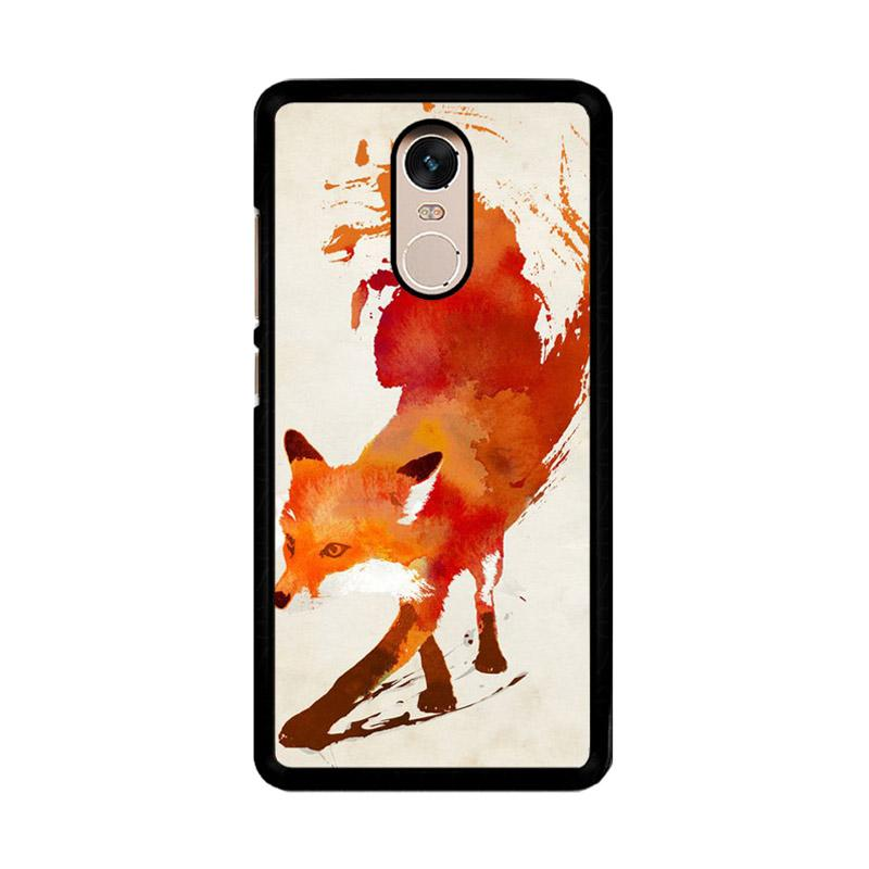 Flazzstore Watercolor Art Orange Red Fox Animal F0246 Custom Casing for Xiaomi Redmi Note 4 or Note 4X Snapdragon Mediatek