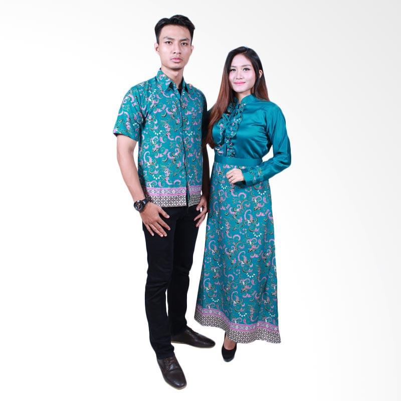 Batik Putri Ayu Solo SRG505 Batik Sarimbit Gamis - Hijau
