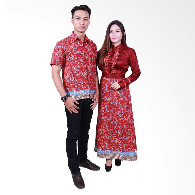 Batik Putri Ayu Solo SRG505 Sarimbit Gamis Batik Couple - Merah