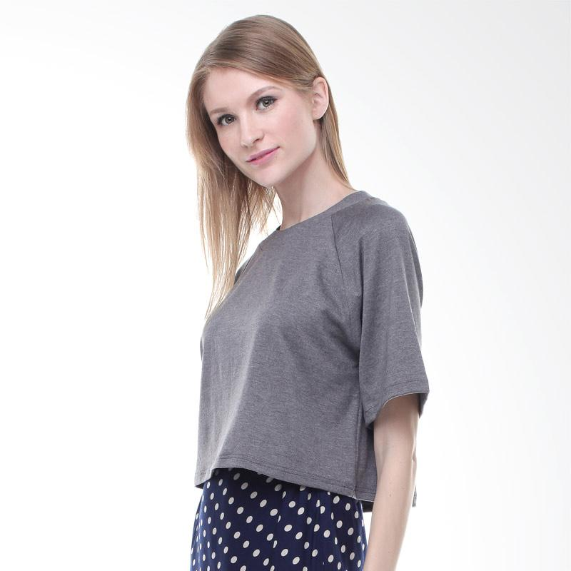 Halcyon Hara Crop Top Atasan Wanita - Dark Grey