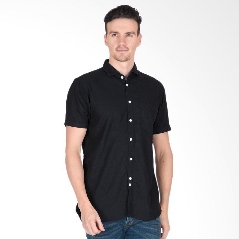 Tendencies Contrast Button Shirt Kemeja Pria - Black