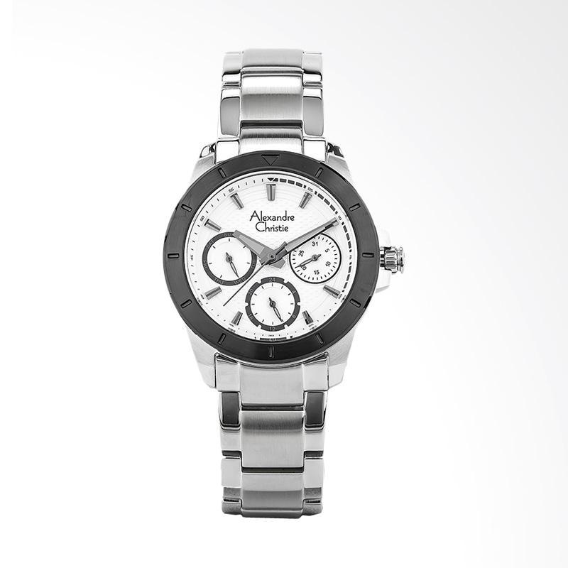 Alexandre Christie AC 6388 BF BTBSL Ladies White Pattern Dial Jam Tangan Wanita - Silver
