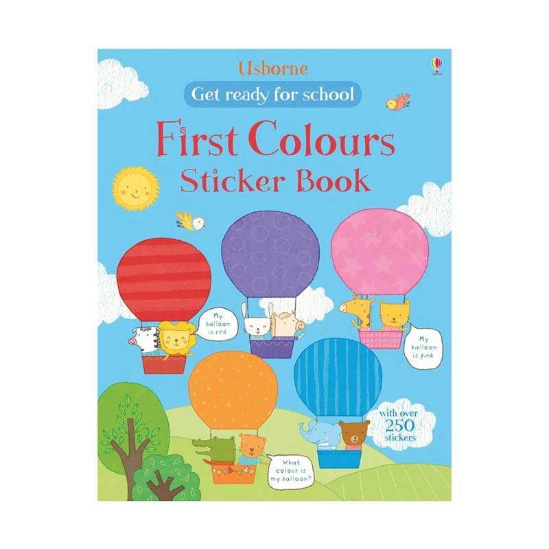 Genius Usborne Get Ready for School First Colours Sticker Book with Over 250 Stickers Buku Edukasi Anak