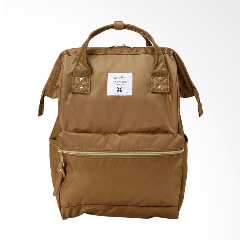Anello Glossy Poly Twill Casual Multifungsi Tas Ransel - Beige