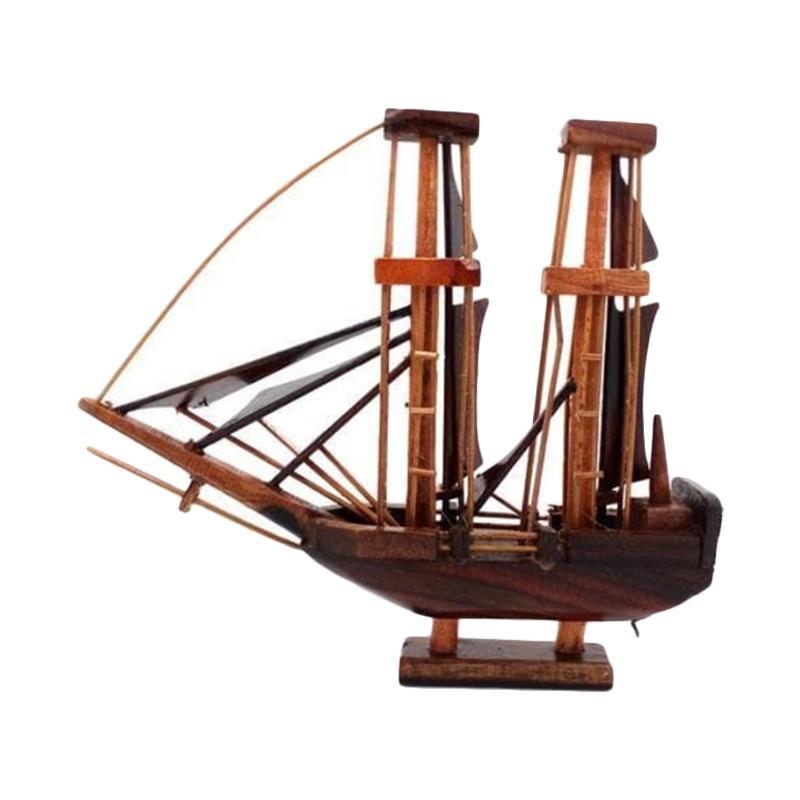 Handmade Miniature Kapal Pinisi Dewaruci Kayu Aksen Dekorative