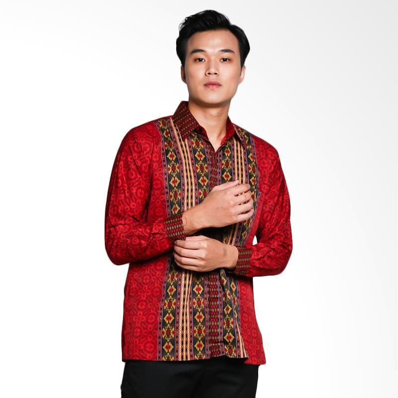 Blitique Arju Kawung Kemeja Batik Pria - Merah