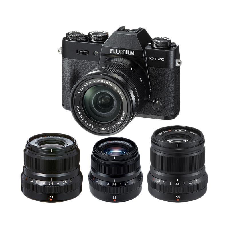 harga Fujifilm X-T20 16-50mm Kamera Mirrorless - Black + XF 23mm f2 + XF 35mm f 2 + XF 50mm f 2 Black + Fuji Instax Share SP2 Blibli.com