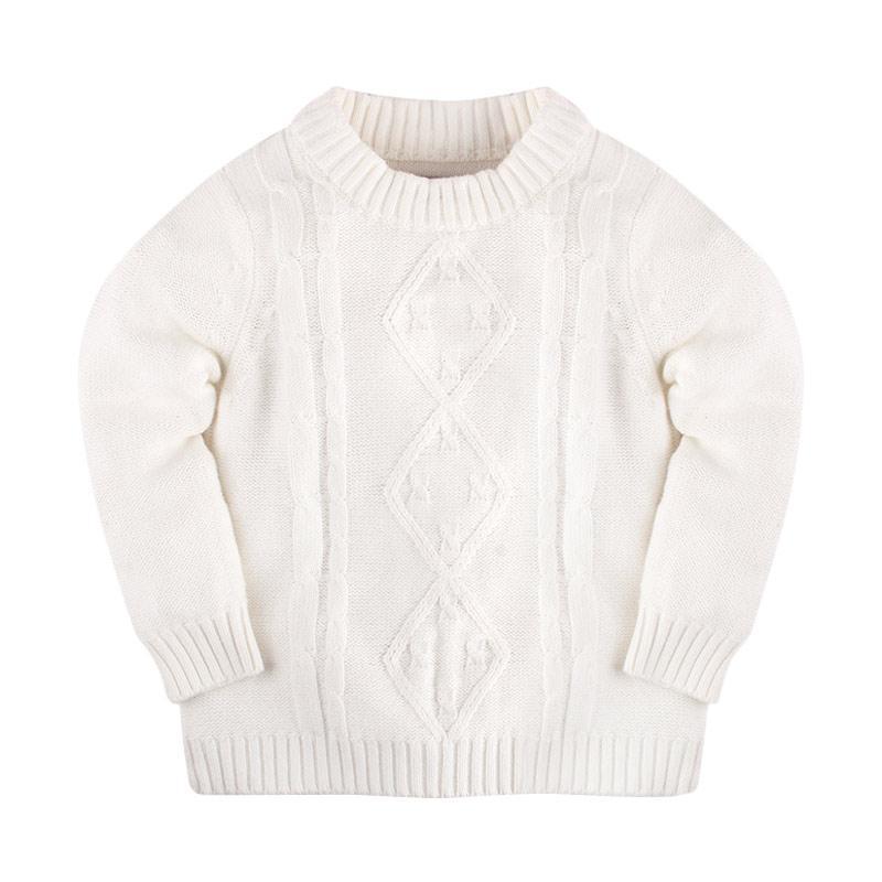Hello Mici Mini Cable Knitwear Baby Sweater - White