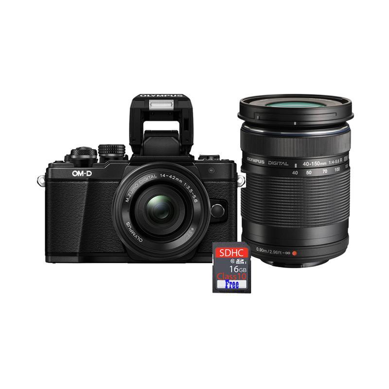 harga Olympus OMD EM10 MARK II KIT 14-42mm EZ with Lens 40-150mm R f4.0-5.6 Kamera Mirrorless - Black + Free SDHC [16 GB] Blibli.com