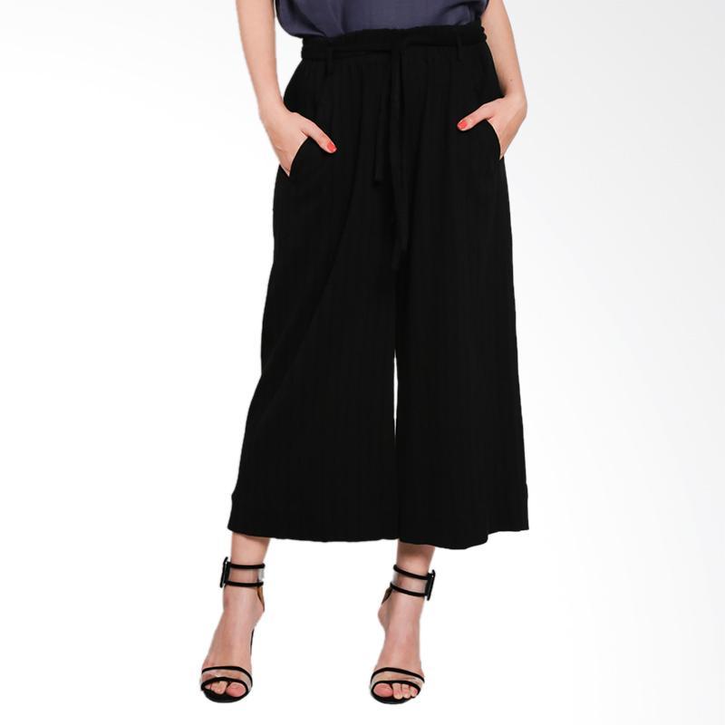 Nikicio Gawai Pants Celana Wanita - Wrinkled Black Crepe