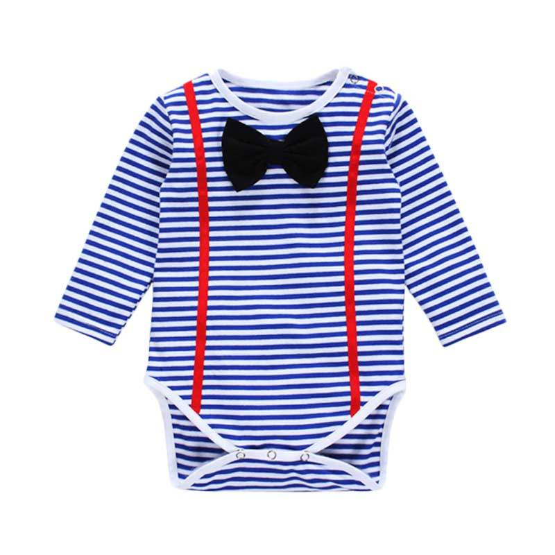 Abby Baby Bow Stripe Romper - Blue