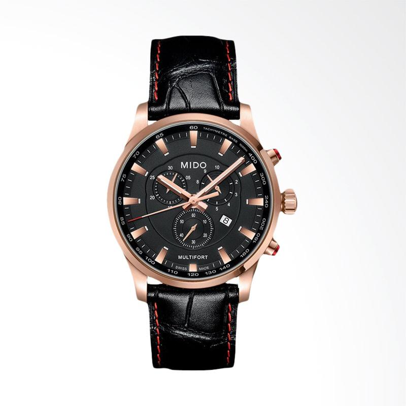 harga Mido Multifort Chronograph Leather Strap Jam Tangan Pria - Black [M005.417.36.051.20] Blibli.com