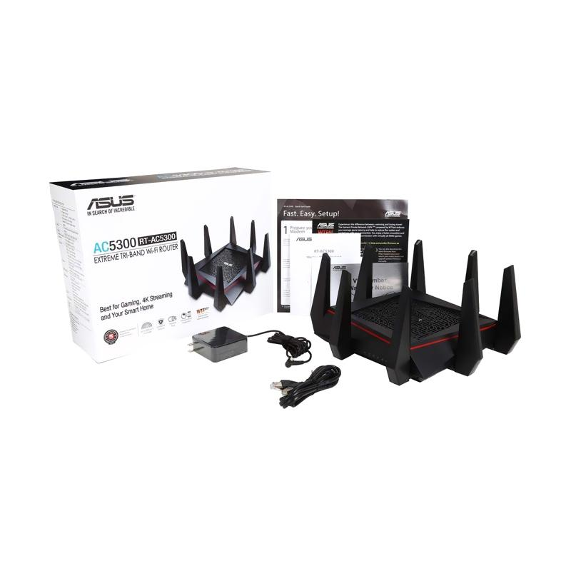 Asus RT-AC5300 Tri Band AC5300 Gigabit Wireless WiFi Router Gaming Aimesh  MU-MIMO AiProtection Trend Micro WTFast Adaptive QoS