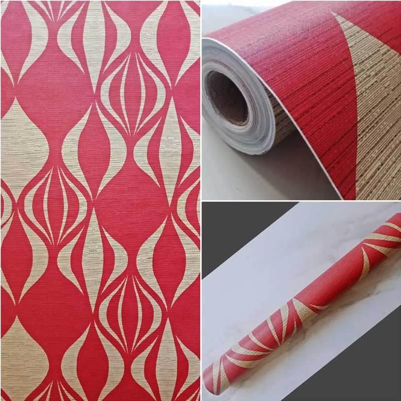 yuyu wallpaper sticker dinding merah marun full02