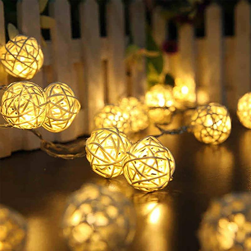 wholesale dealer 9da05 b349d Bluelans 20 LED Rattan Ball String Light Warm White Fairy Lamp Wedding  Party Decor [4.5 m]
