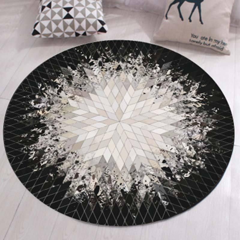 Plush Circular Floor Mat Washable Non