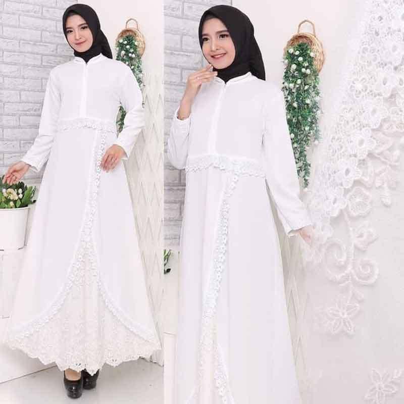 Jual Hitjab 7163 Renda Baju Gamis Putih Premium Online Maret 2021 Blibli