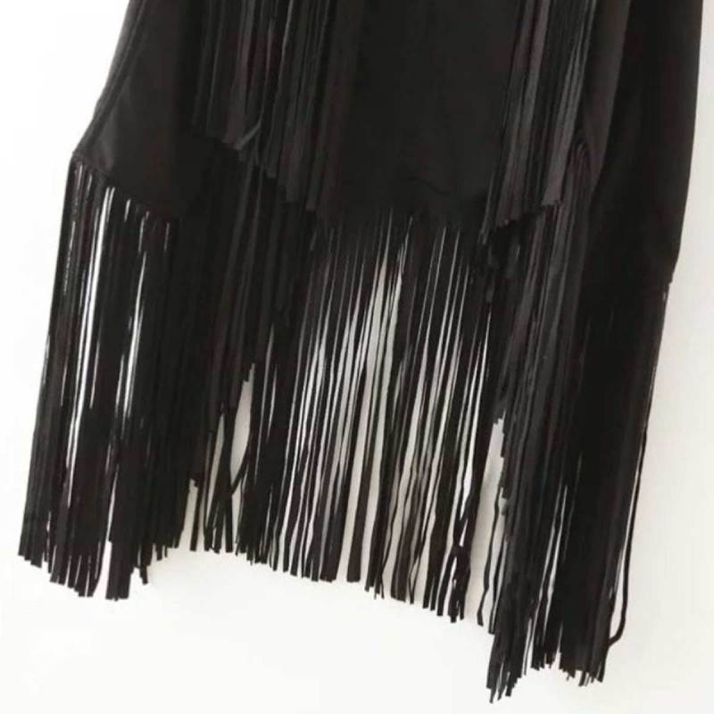 Fashion Deal Women Autumn Winter Faux Suede Ethnic Sleeveless Tassels Fringed Vest Cardigan