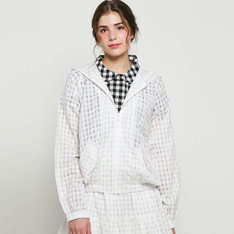 Argyle Oxford Polkadot Hooded Jacket OW03 Outer Wanita White