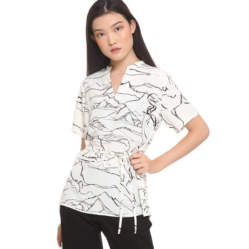 The Executive Abstract Print Blouse