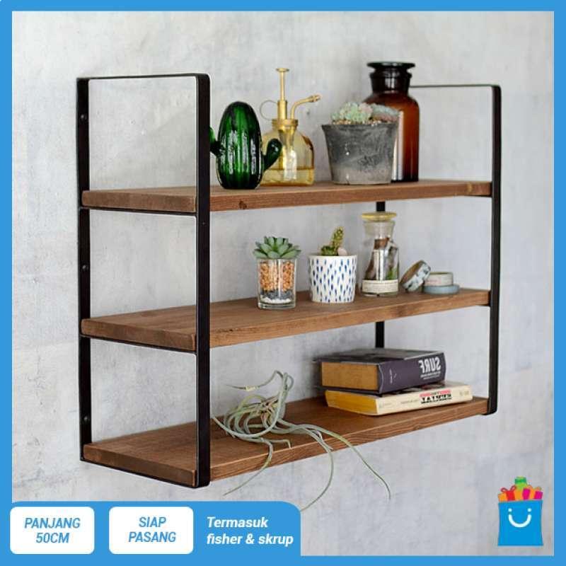 FUJI rak dinding 3 ambalan kayu dan besi buku make up hiasan dekorasi Cokelat 50cm