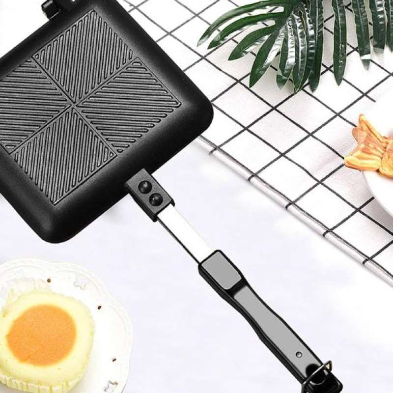 Jual Non Stick Grilled Sandwich Maker Double Side Pan With Handle Sandwich Cooker Online Maret 2021 Blibli