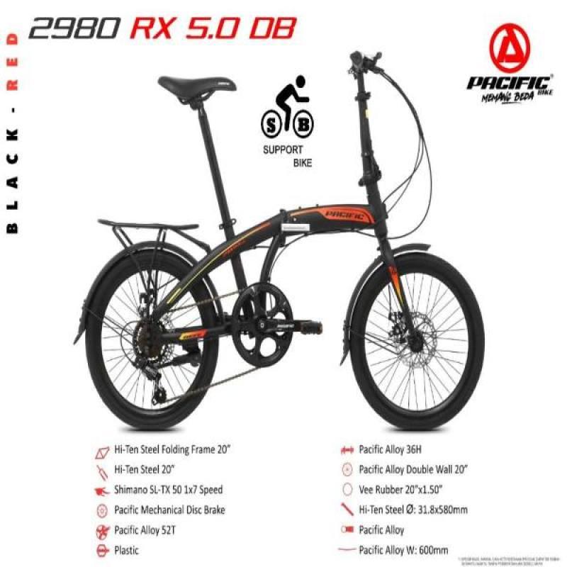 Jual Pacific 2980 Rx 5 0 Disc 20 Inch Sepeda Lipat Black Red Online Desember 2020 Blibli