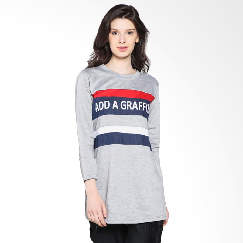 Carte Graffiti T-Shirt Kaos Wanita - Grey