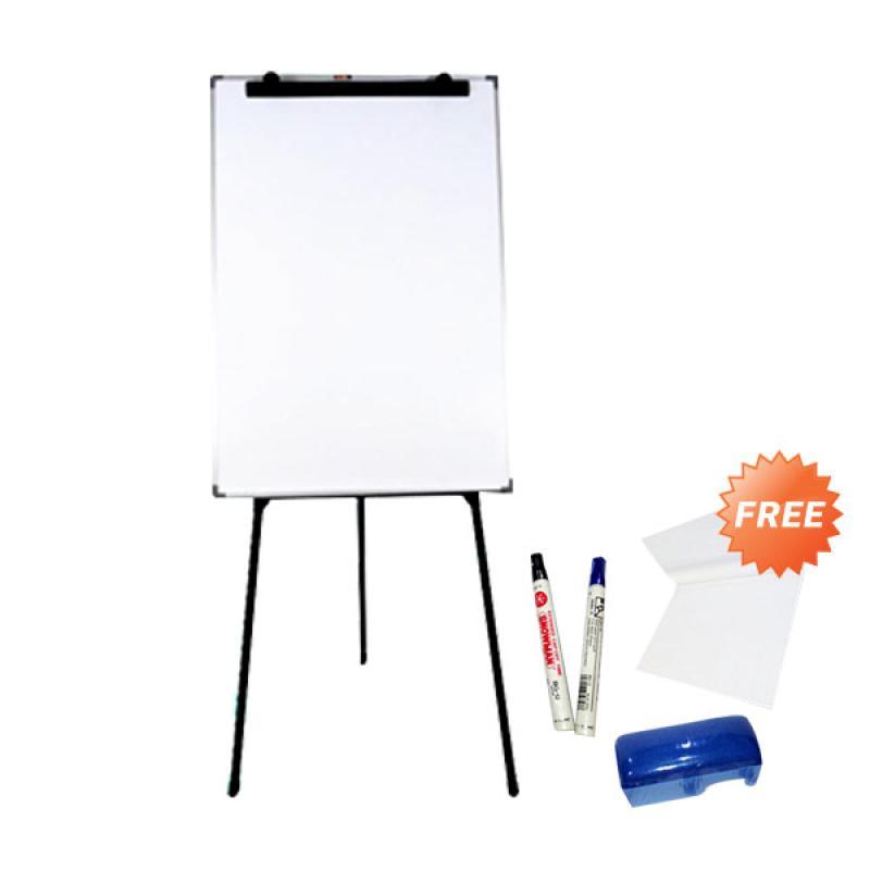 Keiko Flip Chart Papan Tulis - White Black [60 x 90 cm] + Free Perlengkapan Tulis