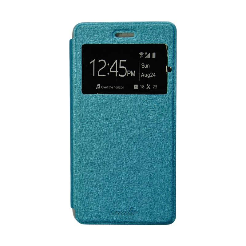 Smile Flip Cover Casing for Oppo R7S - Biru Muda