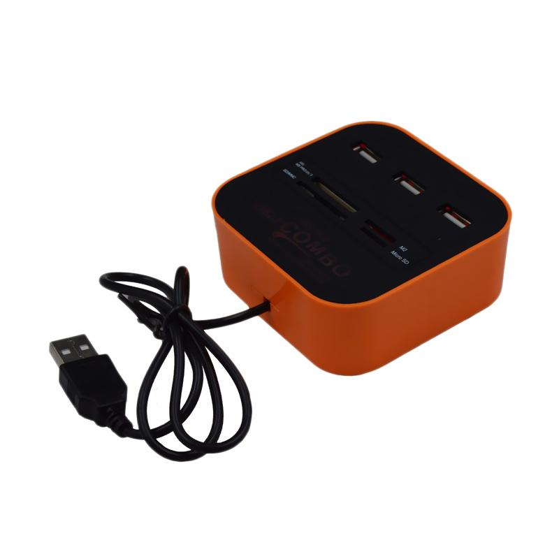 Xtecgo H-003 Card Reader Combo USB Hub - Orange