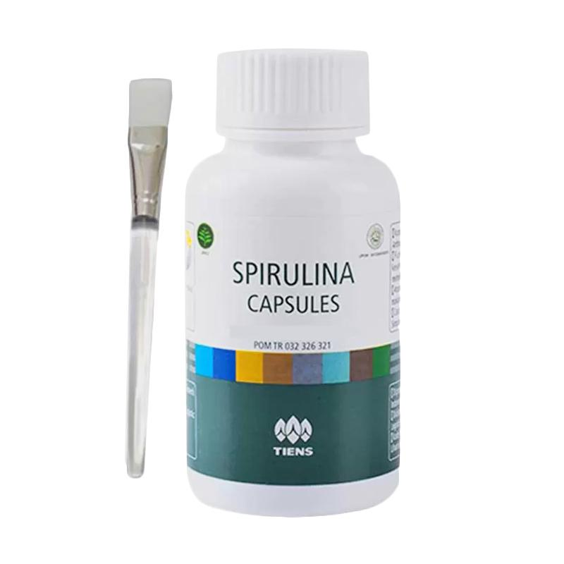 Tiens Masker Spirulina Herbal Pemutih Wajah - Paket 50 Kapsul (Gratis Kuas)