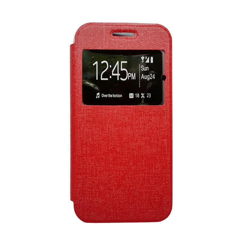 Zagbox Flip Cover Casing for Asus Zenfone 6 - Merah