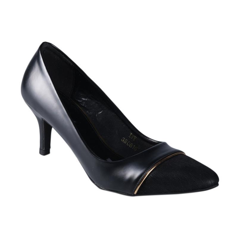 Lina Lee Ivy Sepatu Mid Low Heels - Hitam