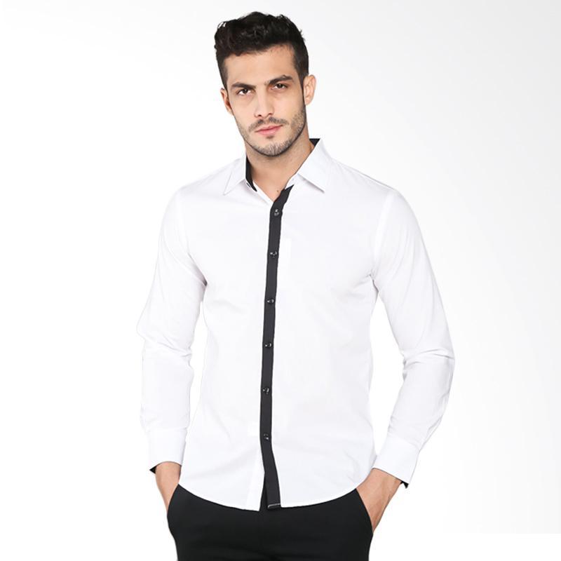 harga VM Kemeja KML 126 Slimfit Casual Panjang Kemeja Pria - Putih Blibli.com