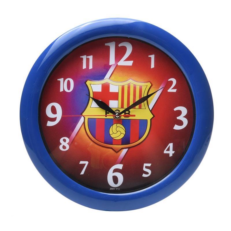 TJ y 10 Motif Barcelona Jam Dinding - Ring Biru [29cm]