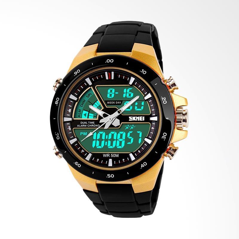 SKMEI Jam Tangan Pria Cowok Analog LED Bezel Casio G-Shock Baby-G Fortuner 1016 AD1016 Original - Gold